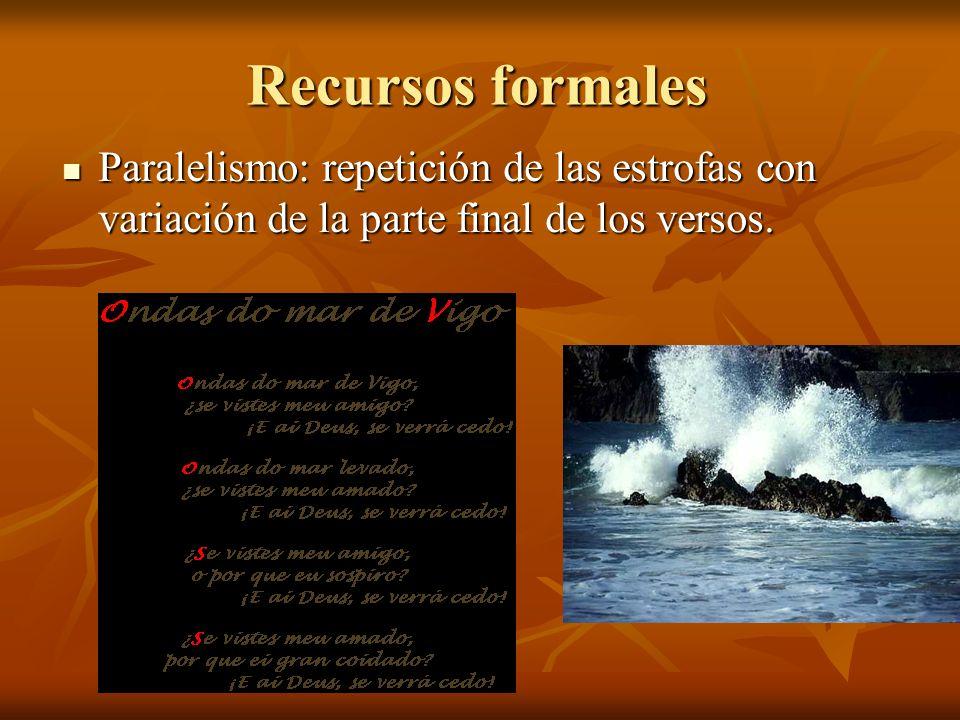 Recursos formales Paralelismo: repetición de las estrofas con variación de la parte final de los versos.