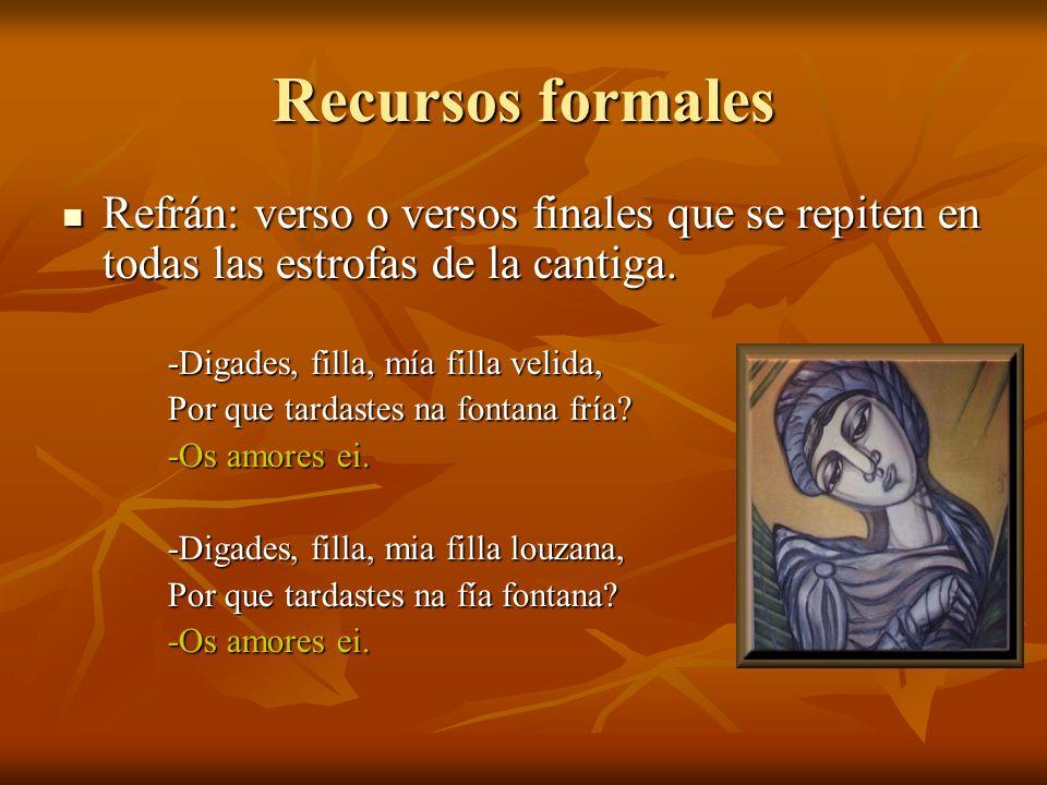Recursos formales Refrán: verso o versos finales que se repiten en todas las estrofas de la cantiga.