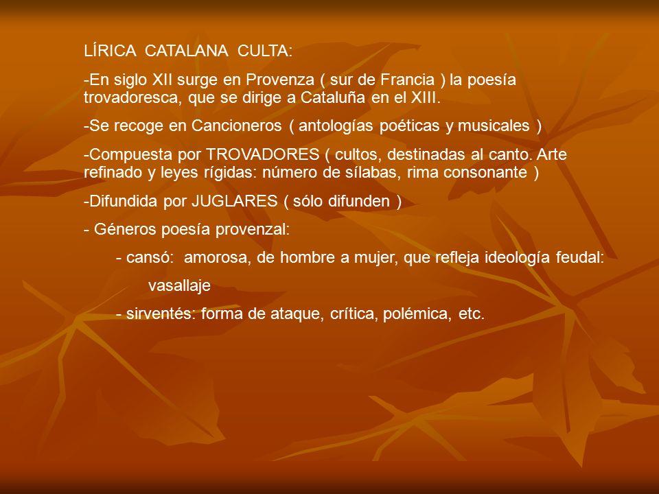 LÍRICA CATALANA CULTA:
