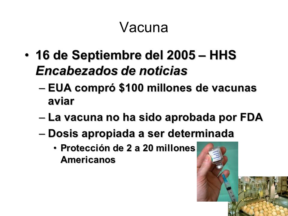 Vacuna 16 de Septiembre del 2005 – HHS Encabezados de noticias