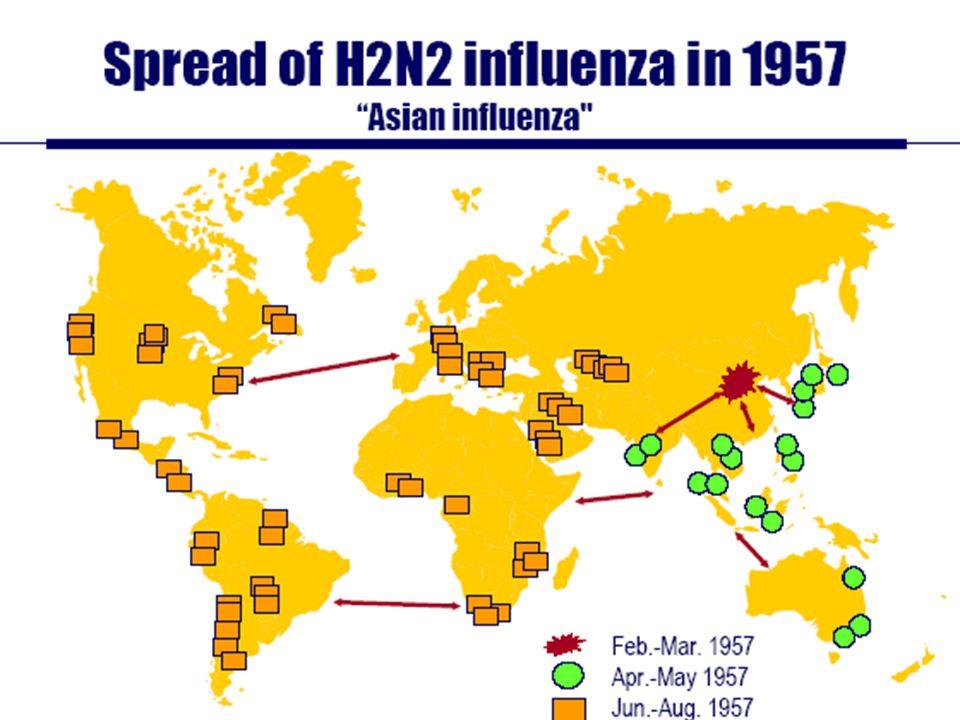 Dispersión de influenza H2N2 en 1957 Influenza asiática