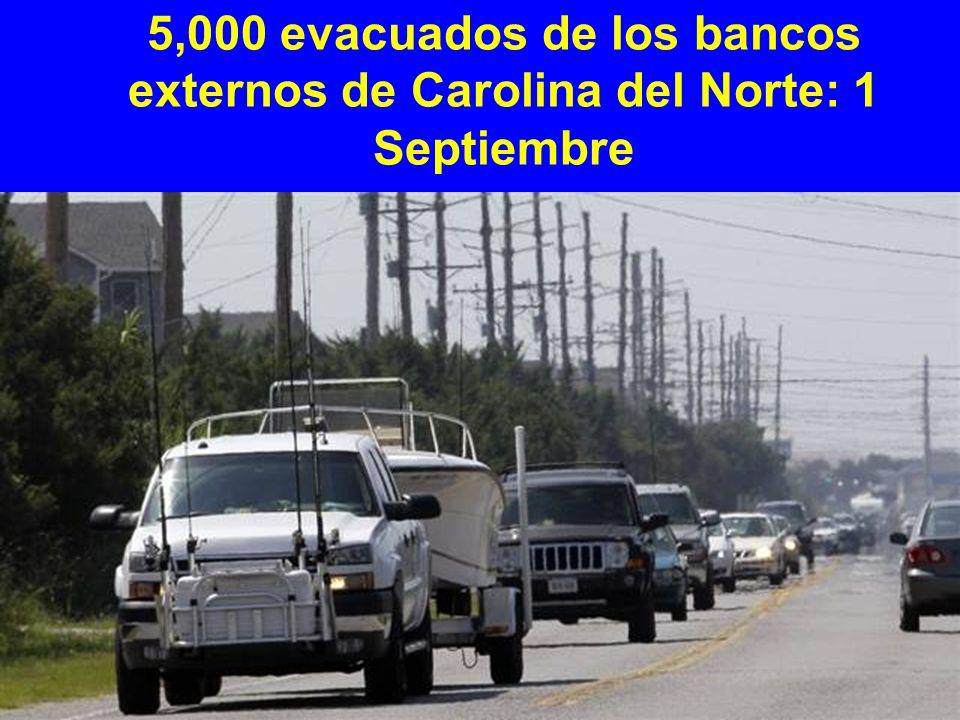 5,000 evacuados de los bancos externos de Carolina del Norte: 1 Septiembre