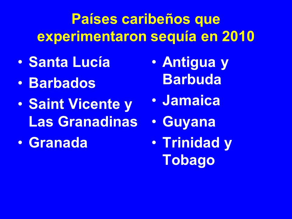 Países caribeños que experimentaron sequía en 2010