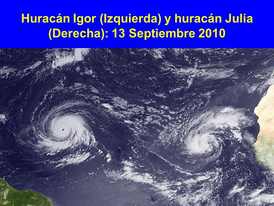 Huracán Igor (Izquierda) y huracán Julia (Derecha): 13 Septiembre 2010