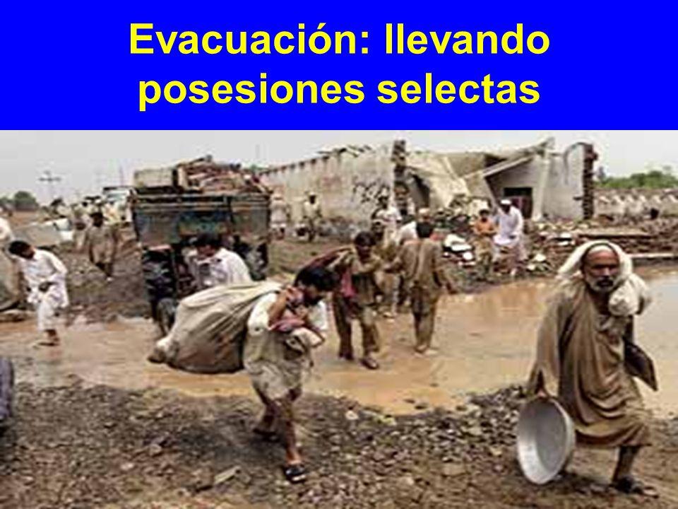 Evacuación: llevando posesiones selectas