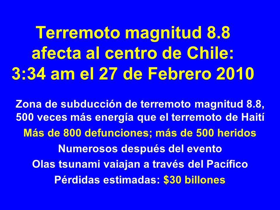 Terremoto magnitud 8.8 afecta al centro de Chile: 3:34 am el 27 de Febrero 2010