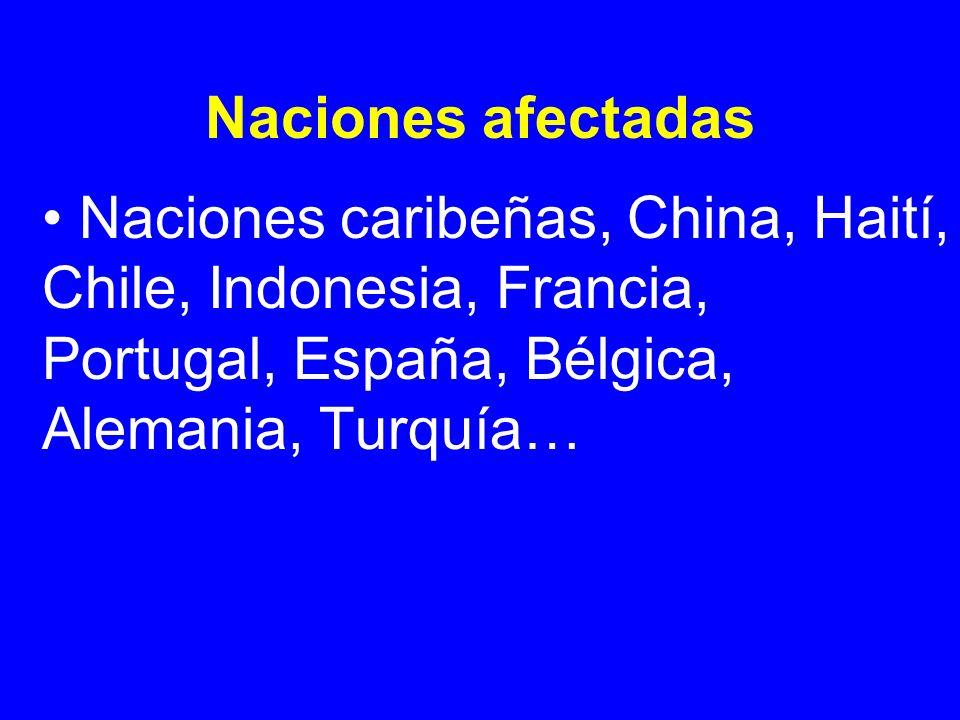 Naciones afectadasNaciones caribeñas, China, Haití, Chile, Indonesia, Francia, Portugal, España, Bélgica, Alemania, Turquía…