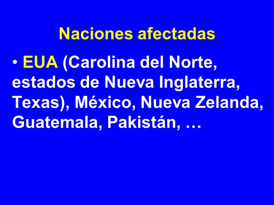 Naciones afectadasEUA (Carolina del Norte, estados de Nueva Inglaterra, Texas), México, Nueva Zelanda, Guatemala, Pakistán, …
