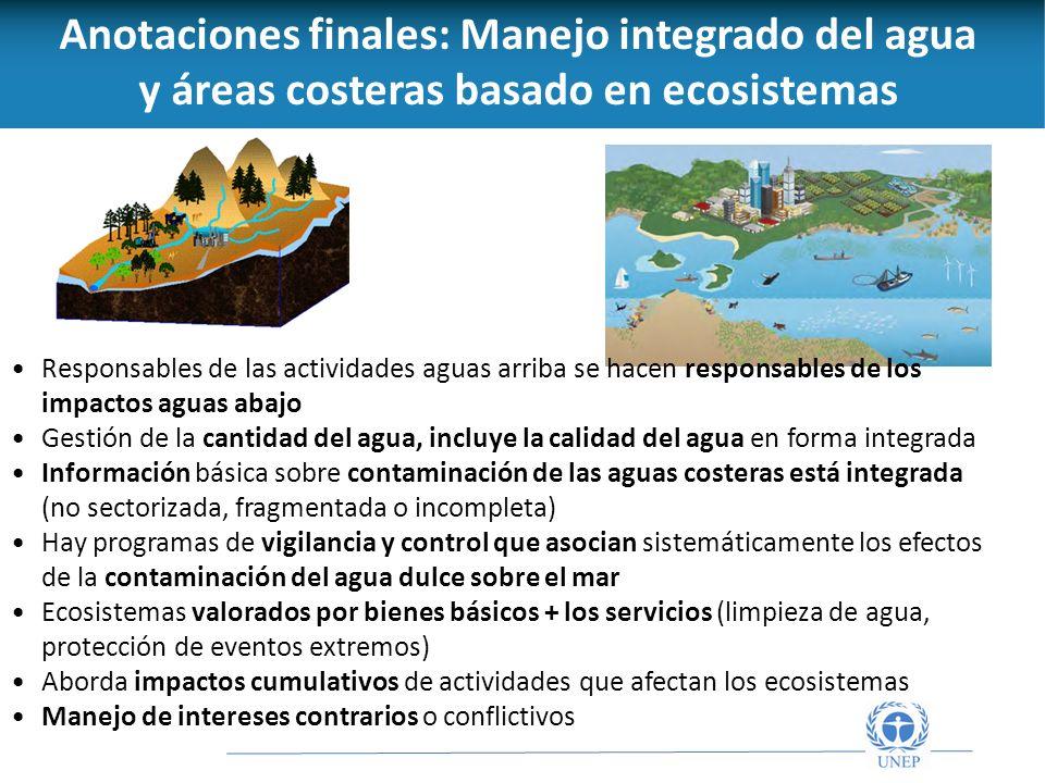Anotaciones finales: Manejo integrado del agua y áreas costeras basado en ecosistemas