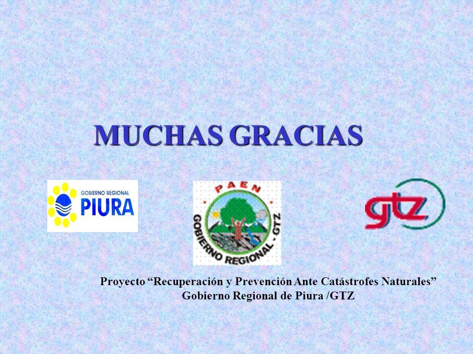 MUCHAS GRACIAS Proyecto Recuperación y Prevención Ante Catástrofes Naturales Gobierno Regional de Piura /GTZ.