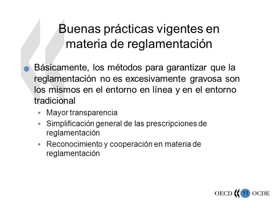 Buenas prácticas vigentes en materia de reglamentación