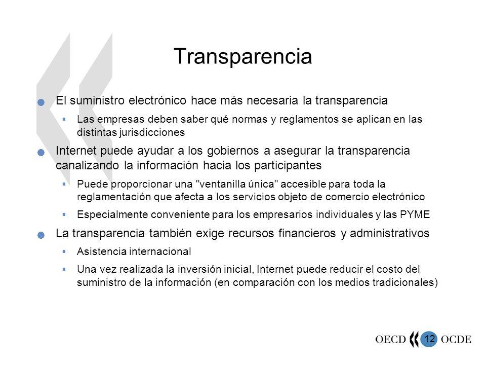 Transparencia El suministro electrónico hace más necesaria la transparencia.