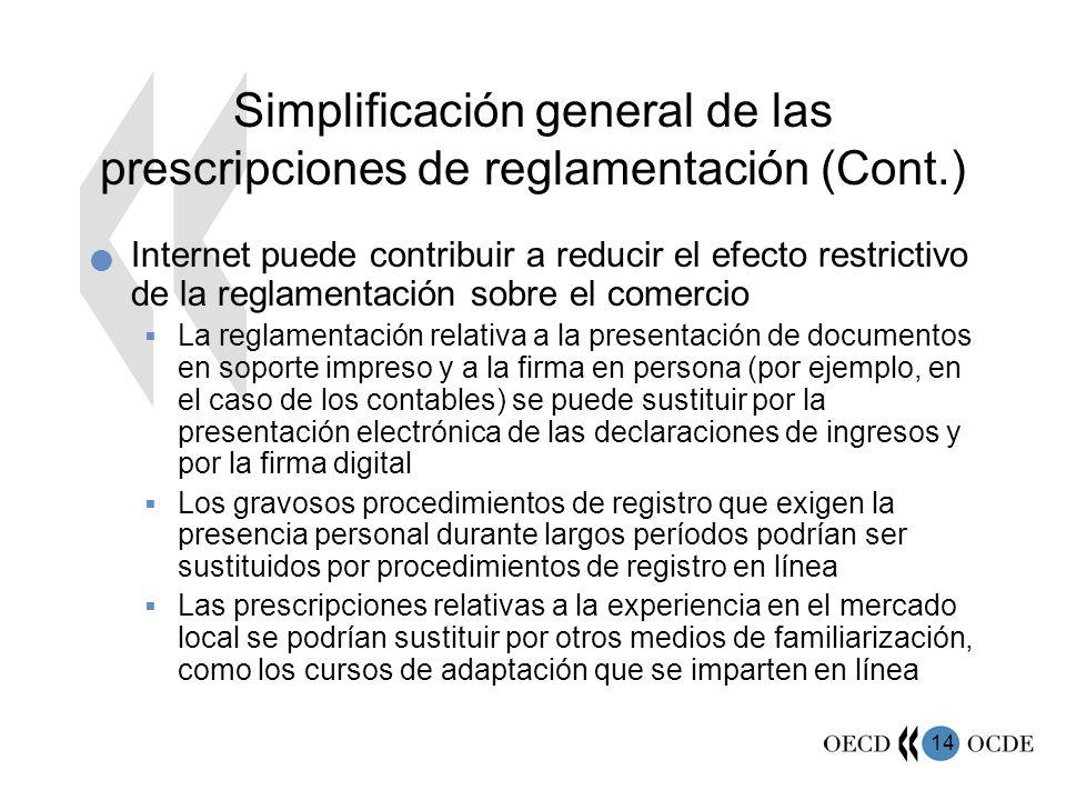 Simplificación general de las prescripciones de reglamentación (Cont.)
