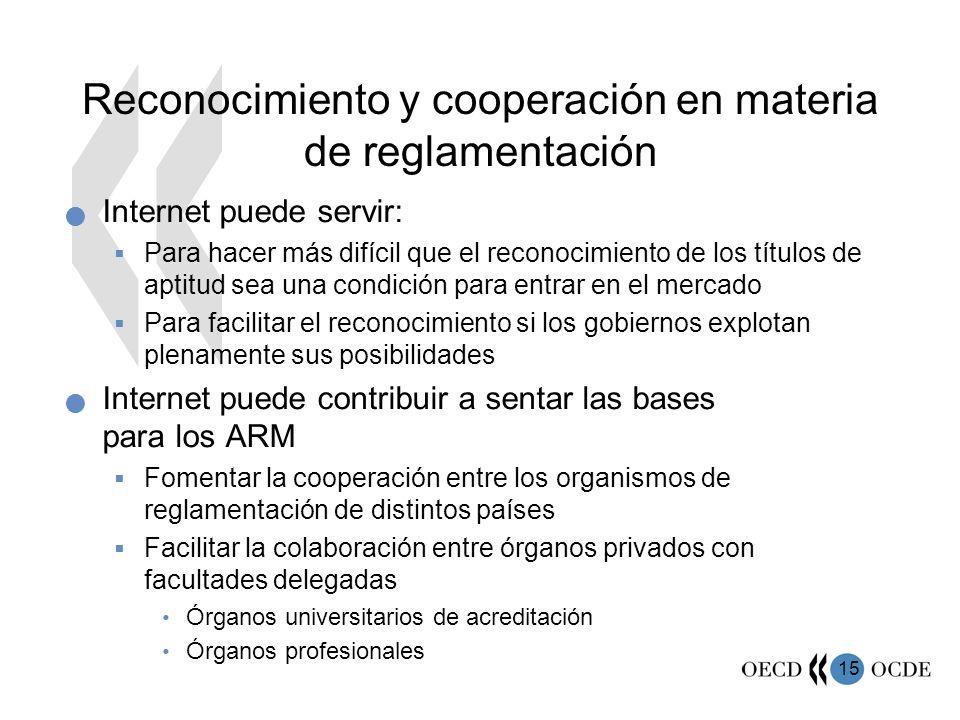 Reconocimiento y cooperación en materia de reglamentación