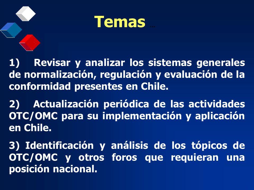 Temas ... 1) Revisar y analizar los sistemas generales de normalización, regulación y evaluación de la conformidad presentes en Chile.