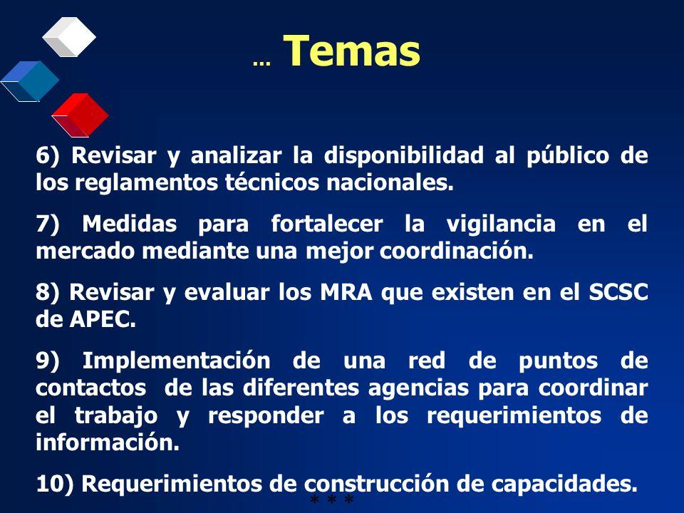 8) Revisar y evaluar los MRA que existen en el SCSC de APEC.