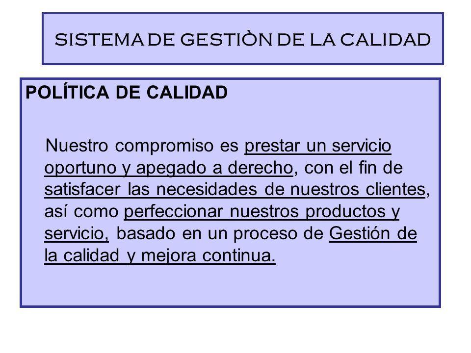 SISTEMA DE GESTIÒN DE LA CALIDAD