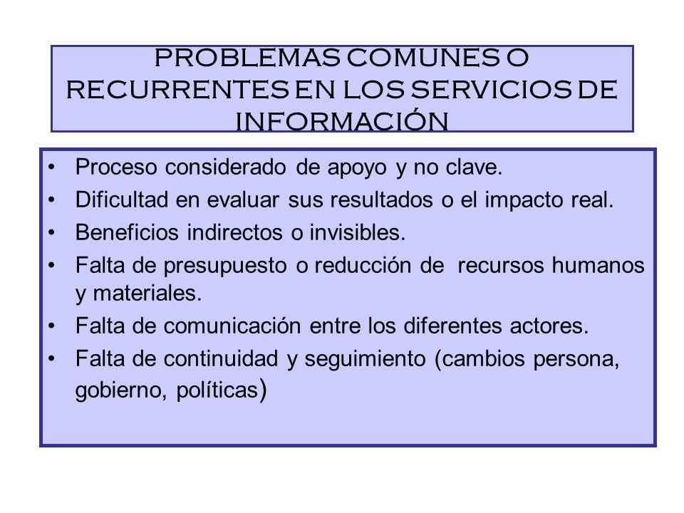 PROBLEMAS COMUNES O RECURRENTES EN LOS SERVICIOS DE INFORMACIÓN