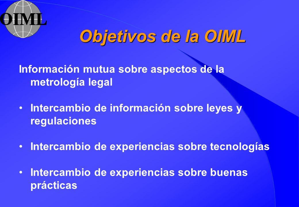 Objetivos de la OIML Información mutua sobre aspectos de la metrología legal. Intercambio de información sobre leyes y regulaciones.