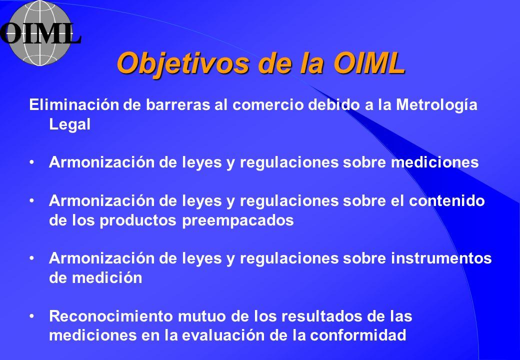 Objetivos de la OIML Eliminación de barreras al comercio debido a la Metrología Legal. Armonización de leyes y regulaciones sobre mediciones.