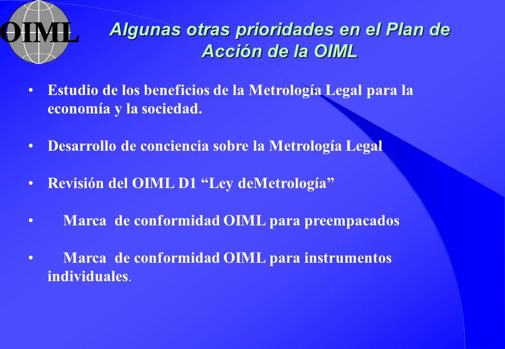 Algunas otras prioridades en el Plan de Acción de la OIML