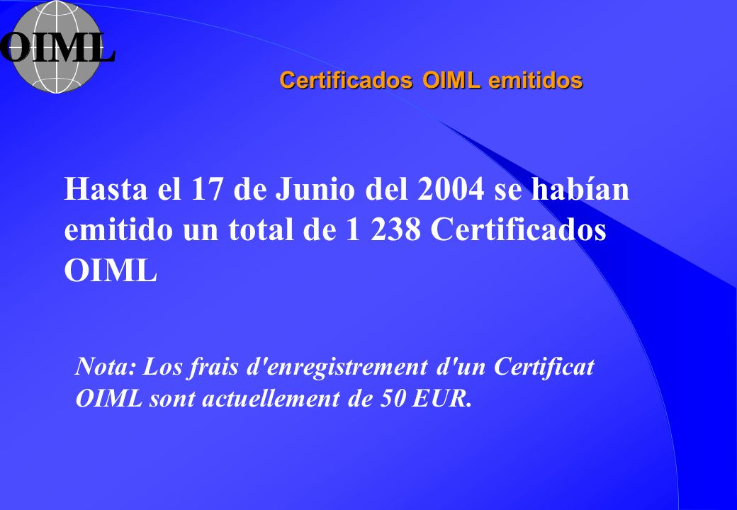 Certificados OIML emitidos