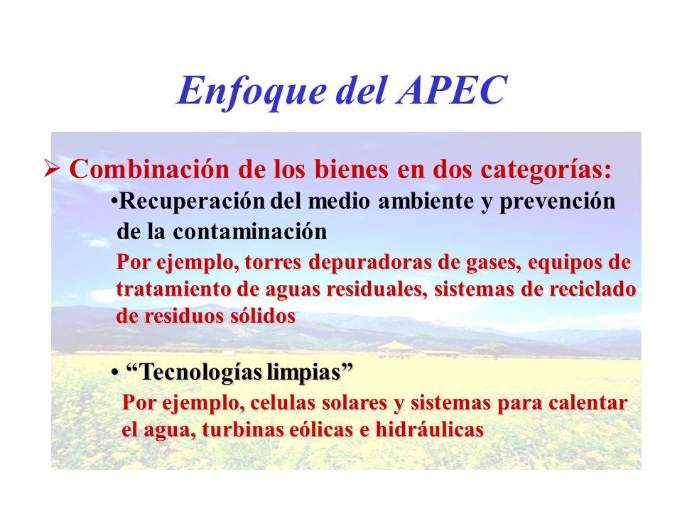 Enfoque del APEC Combinación de los bienes en dos categorías: