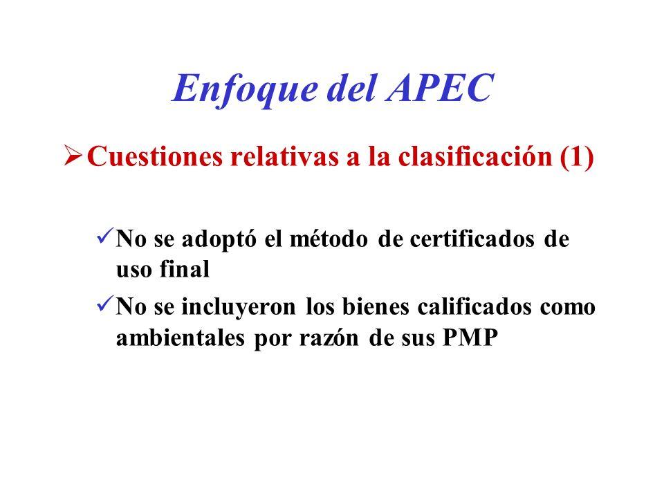 Enfoque del APEC Cuestiones relativas a la clasificación (1)