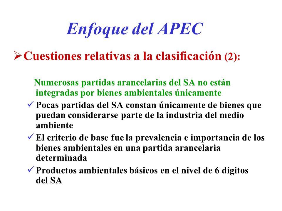 Enfoque del APEC Cuestiones relativas a la clasificación (2):