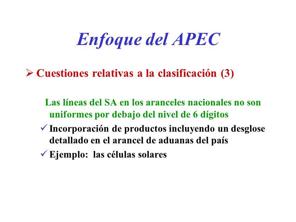 Enfoque del APEC Cuestiones relativas a la clasificación (3)
