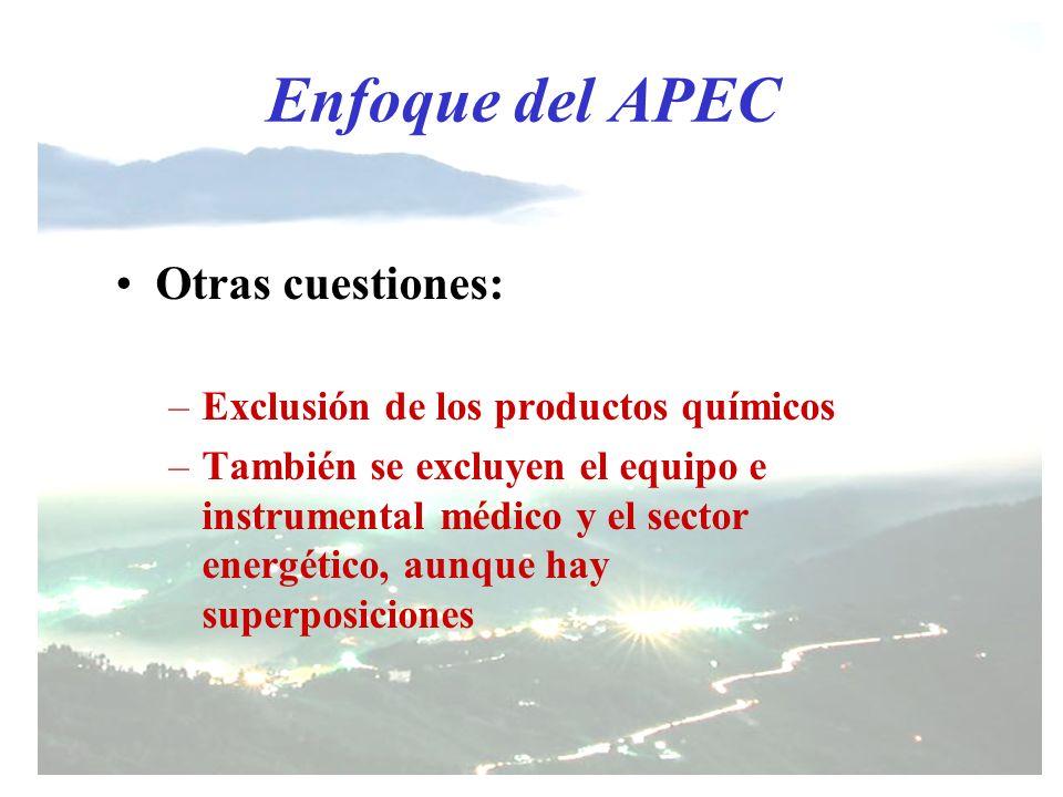 Enfoque del APEC Otras cuestiones: Exclusión de los productos químicos