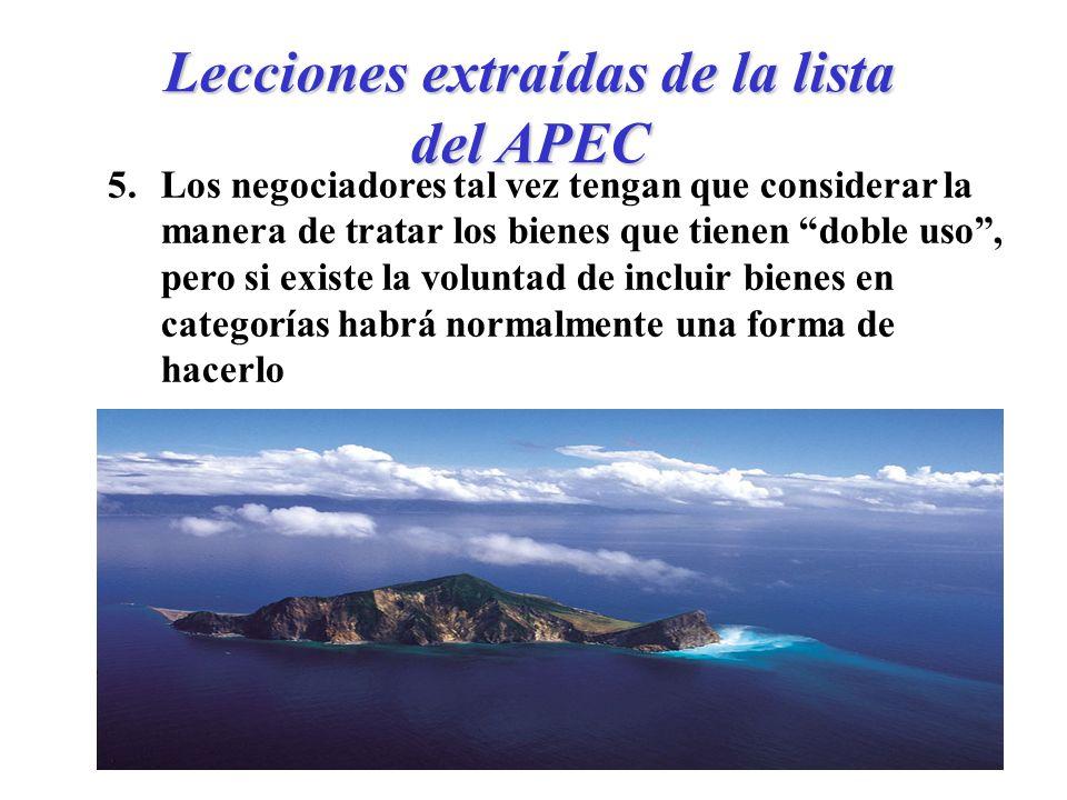 Lecciones extraídas de la lista del APEC