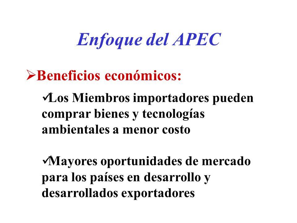 Enfoque del APEC Beneficios económicos: