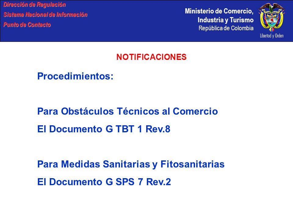 Para Obstáculos Técnicos al Comercio El Documento G TBT 1 Rev.8