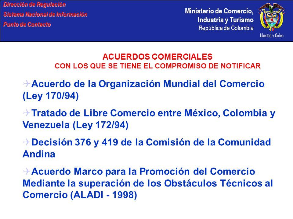 ACUERDOS COMERCIALES CON LOS QUE SE TIENE EL COMPROMISO DE NOTIFICAR