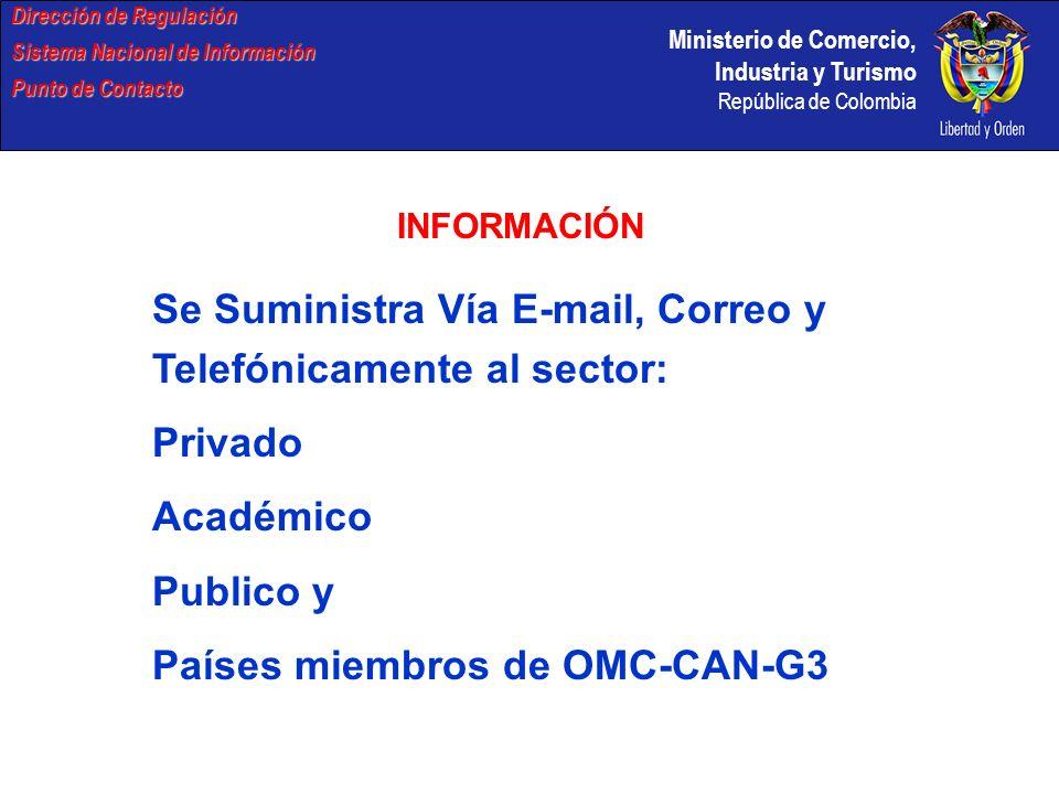 Se Suministra Vía E-mail, Correo y Telefónicamente al sector: Privado