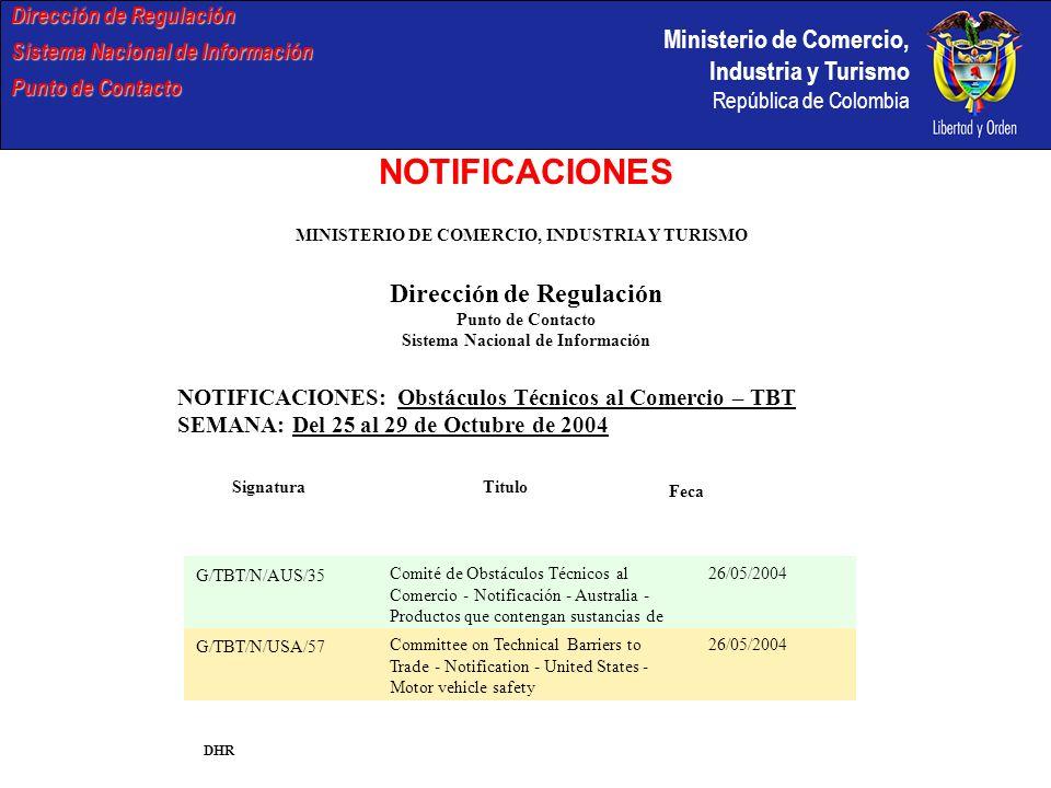 NOTIFICACIONES Dirección de Regulación Dirección de Regulación