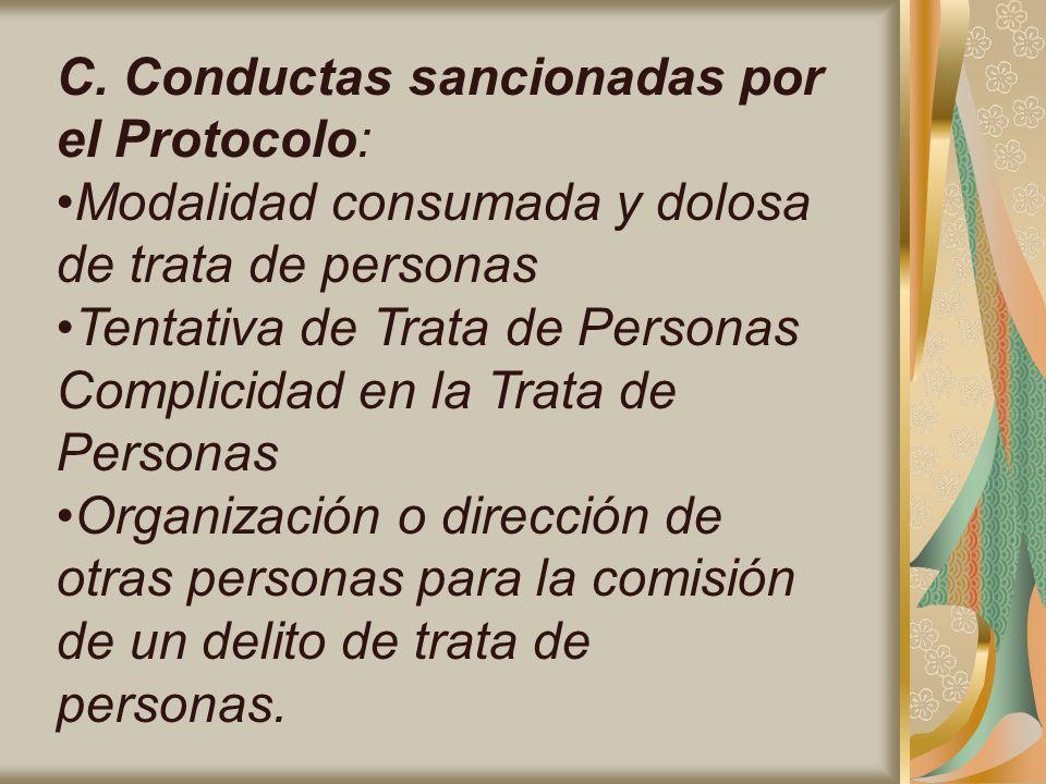 C. Conductas sancionadas por el Protocolo: