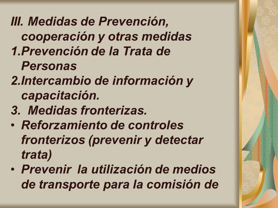 III. Medidas de Prevención, cooperación y otras medidas