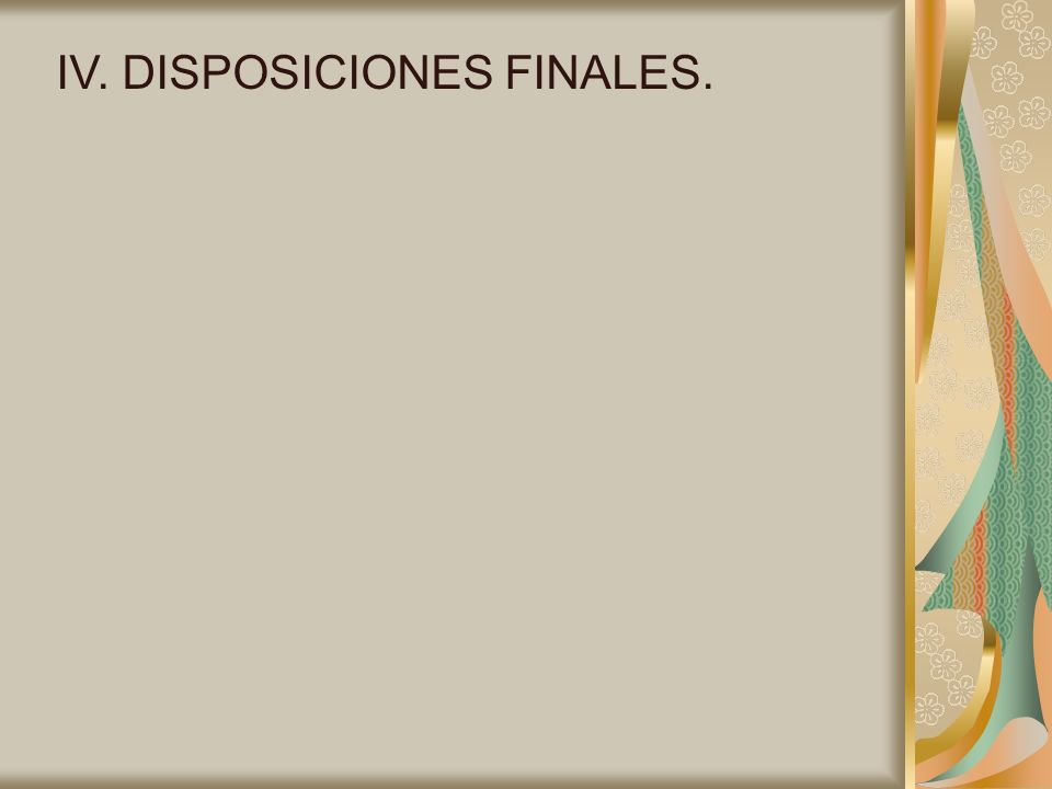 IV. DISPOSICIONES FINALES.