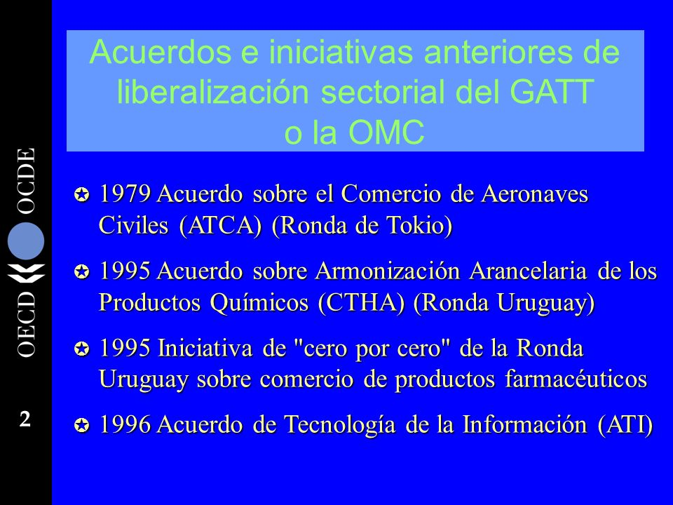 Acuerdos e iniciativas anteriores de liberalización sectorial del GATT o la OMC