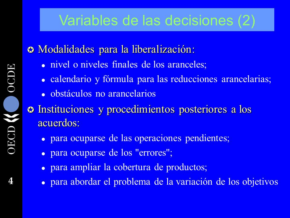 Variables de las decisiones (2)