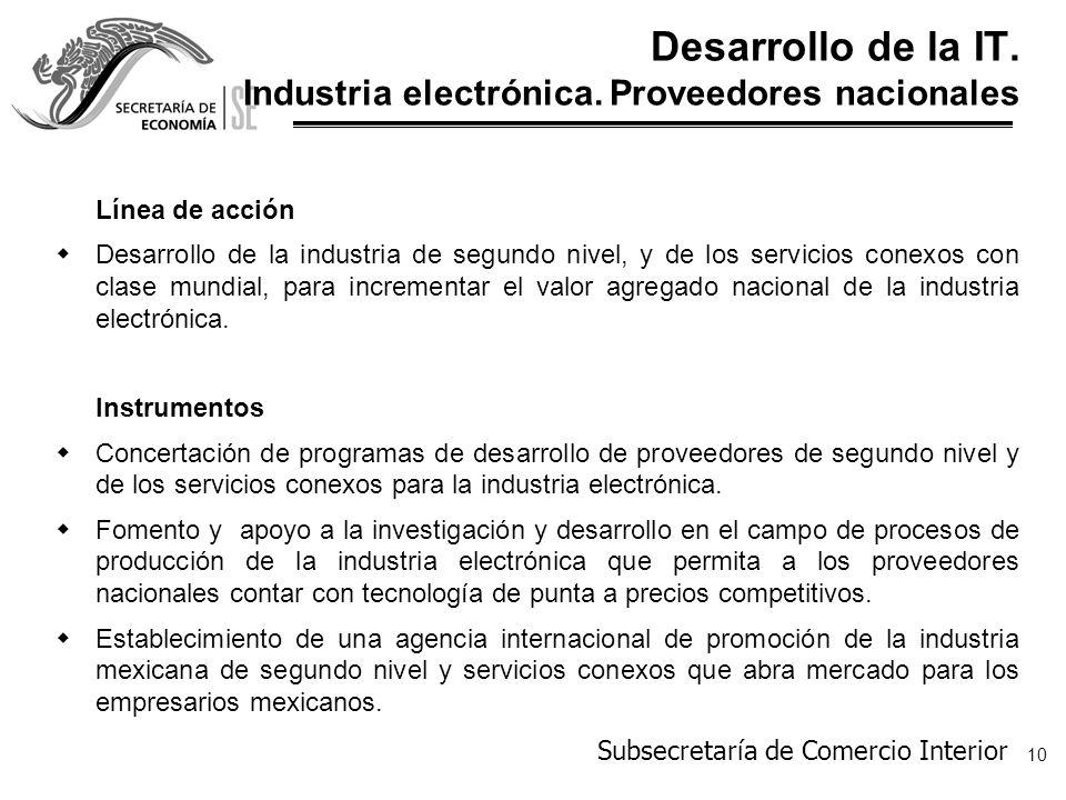 Desarrollo de la IT. Industria electrónica. Proveedores nacionales
