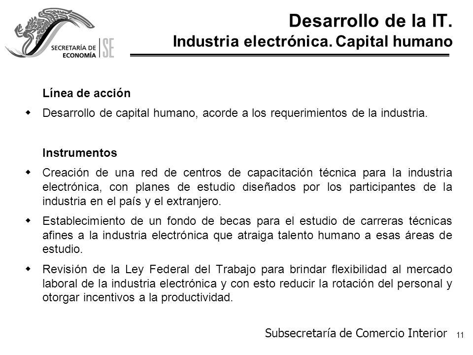 Desarrollo de la IT. Industria electrónica. Capital humano