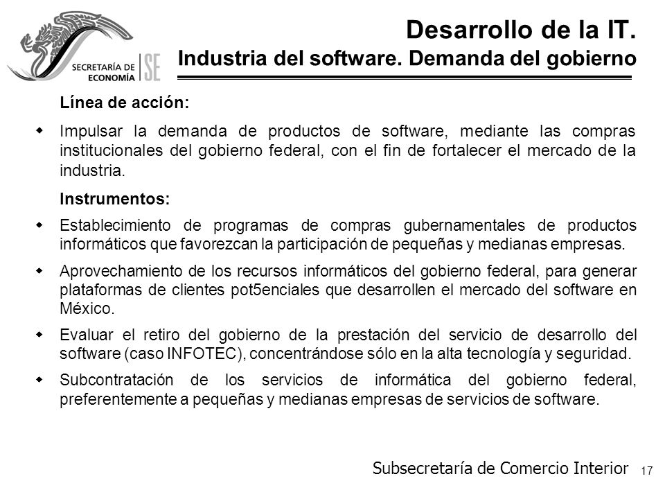 Desarrollo de la IT. Industria del software. Demanda del gobierno