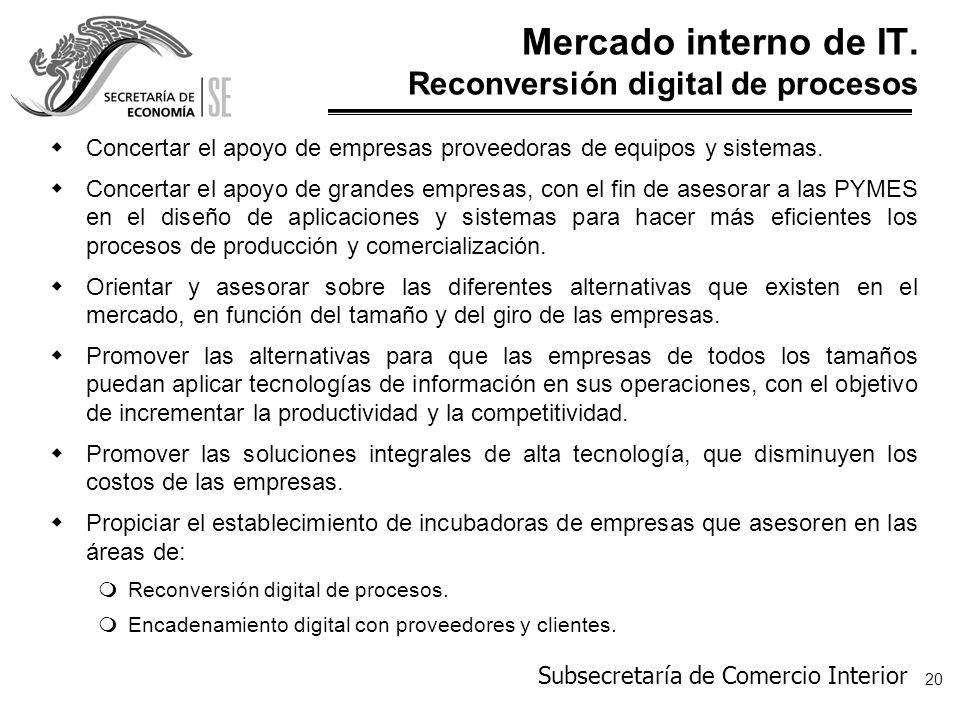 Mercado interno de IT. Reconversión digital de procesos