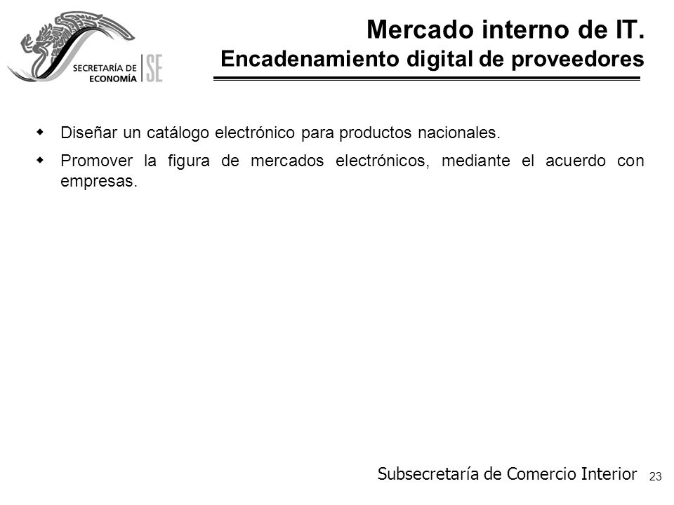 Mercado interno de IT. Encadenamiento digital de proveedores