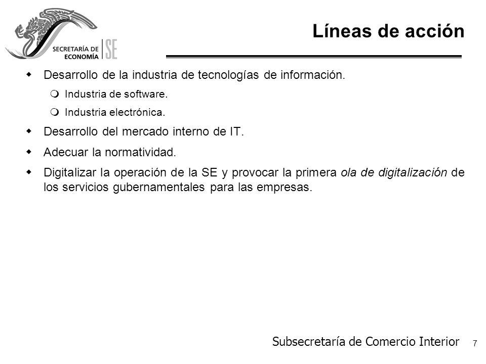 Líneas de acción Desarrollo de la industria de tecnologías de información. Industria de software. Industria electrónica.