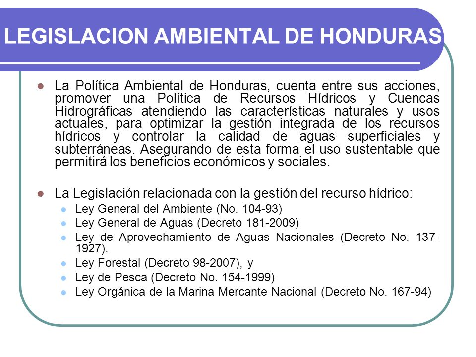 LEGISLACION AMBIENTAL DE HONDURAS