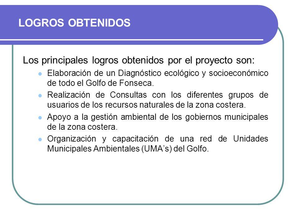 LOGROS OBTENIDOS Los principales logros obtenidos por el proyecto son:
